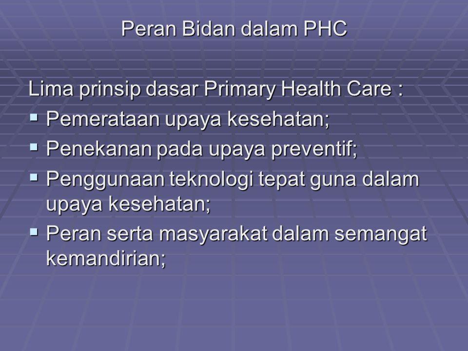 Peran Bidan dalam PHC Lima prinsip dasar Primary Health Care : Pemerataan upaya kesehatan; Penekanan pada upaya preventif;