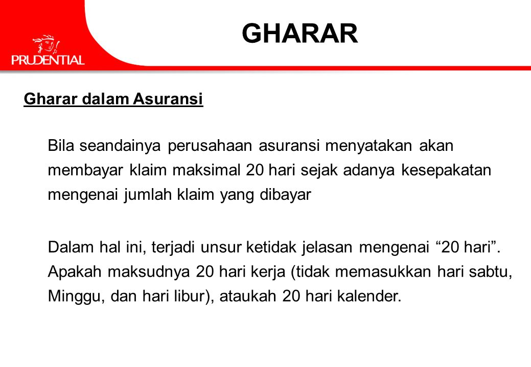 GHARAR Gharar dalam Asuransi