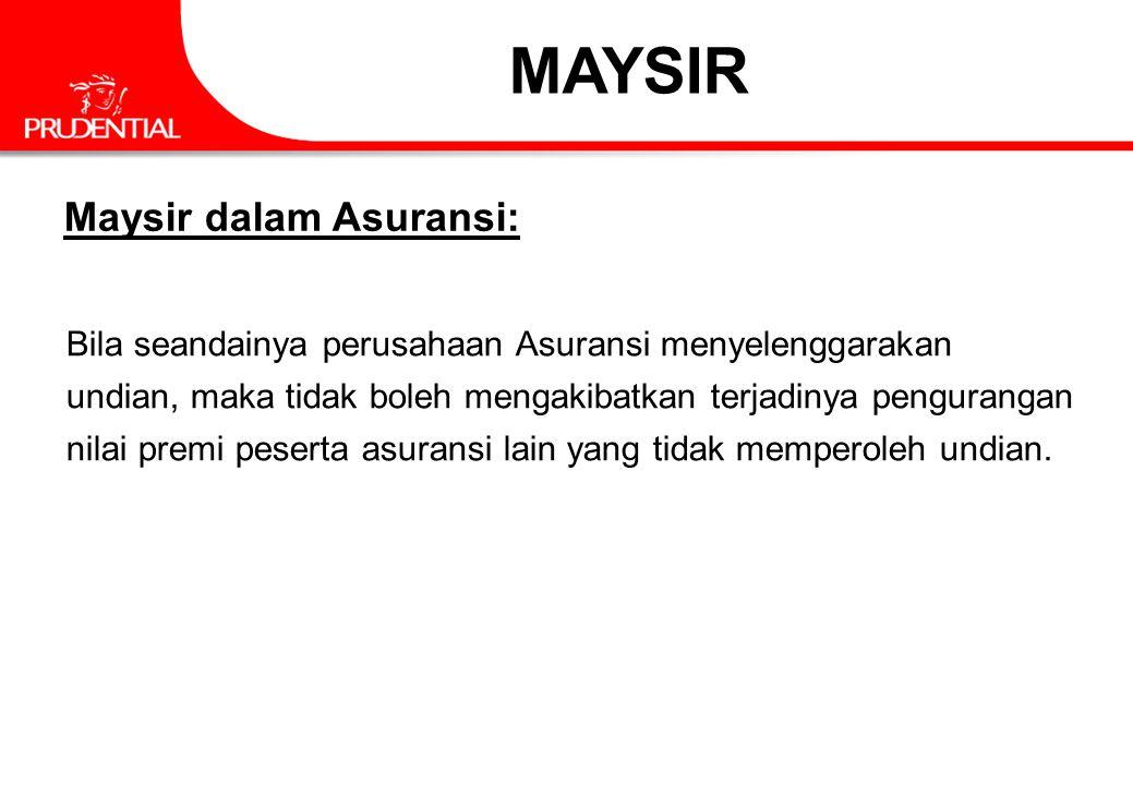 MAYSIR Maysir dalam Asuransi: