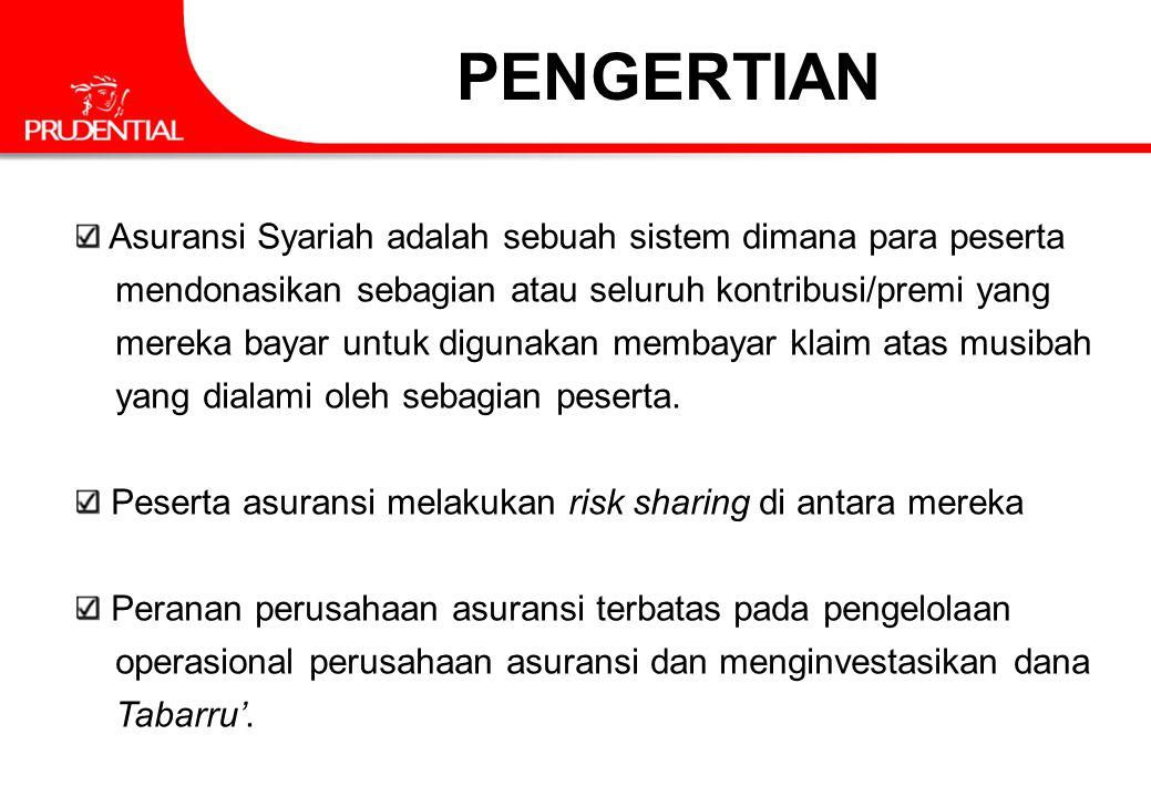 PENGERTIAN Asuransi Syariah adalah sebuah sistem dimana para peserta