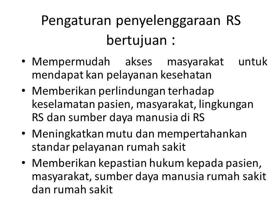 Pengaturan penyelenggaraan RS bertujuan :