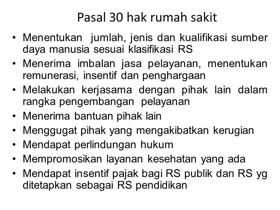 Pasal 30 hak rumah sakit Menentukan jumlah, jenis dan kualifikasi sumber daya manusia sesuai klasifikasi RS.