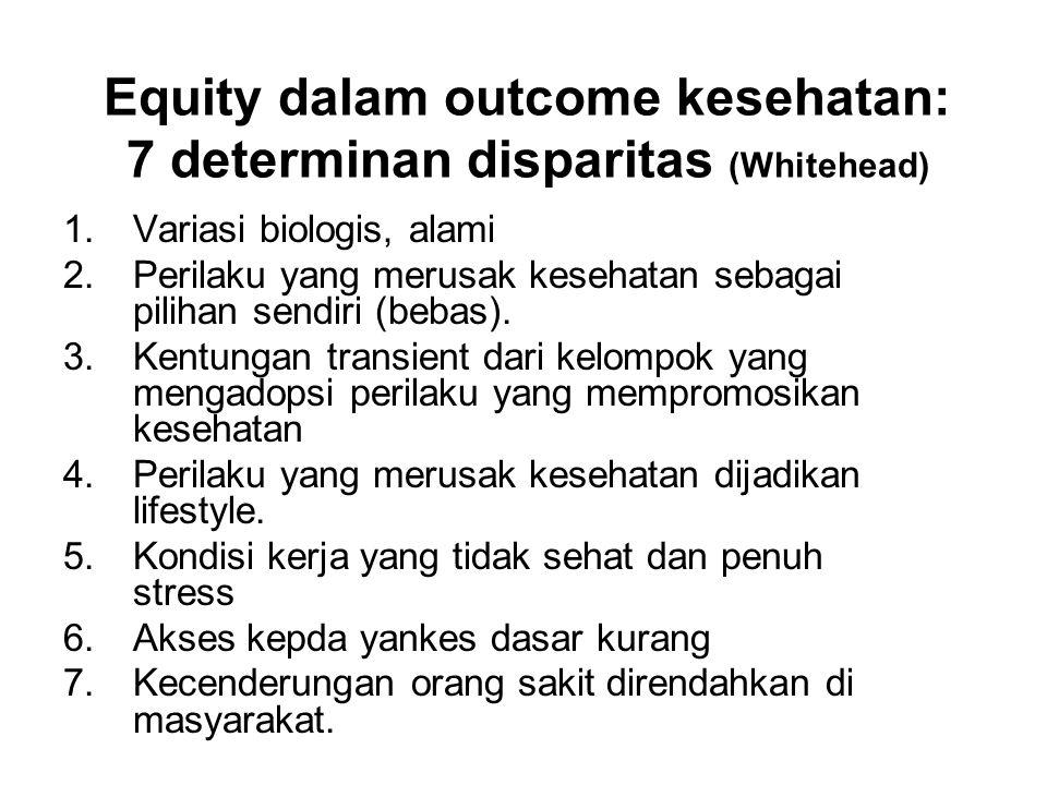 Equity dalam outcome kesehatan: 7 determinan disparitas (Whitehead)