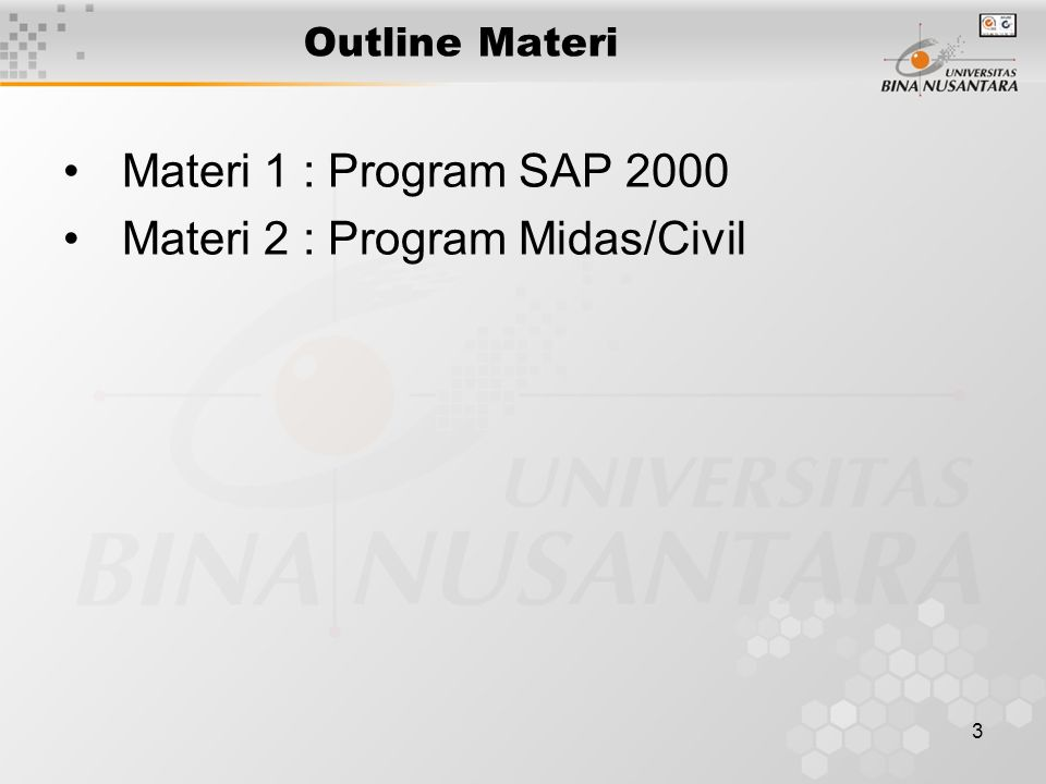 Materi 2 : Program Midas/Civil