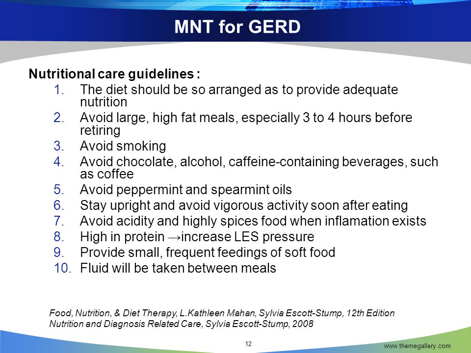 MNT for GERD Nutritional care guidelines :