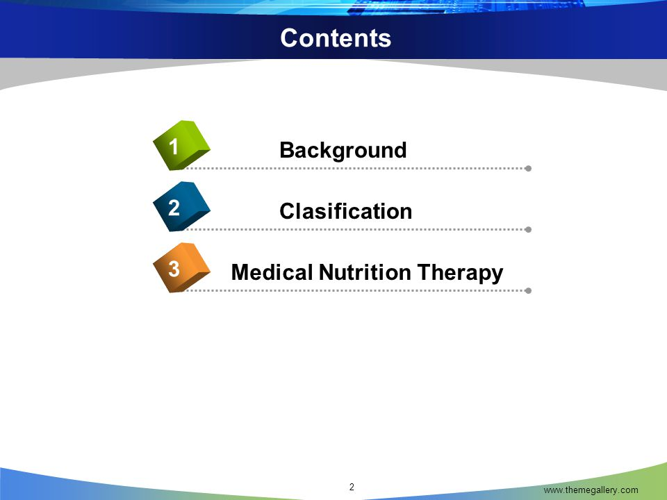 Contents 1 Background 2 Clasification 3 Medical Nutrition Therapy