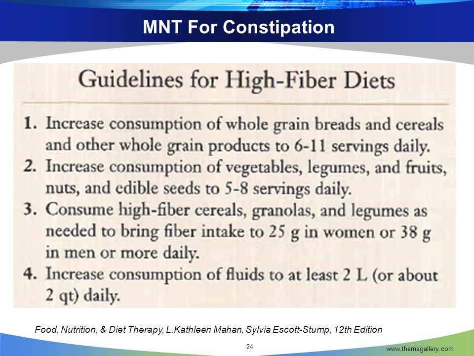 MNT For Constipation Food, Nutrition, & Diet Therapy, L.Kathleen Mahan, Sylvia Escott-Stump, 12th Edition.