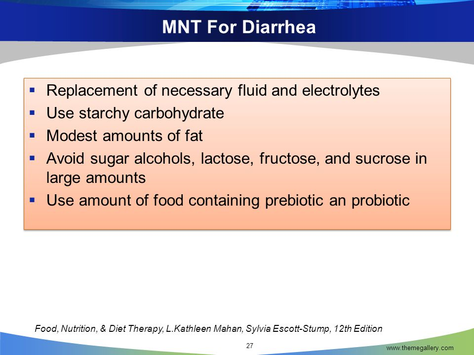 MNT For Diarrhea Replacement of necessary fluid and electrolytes