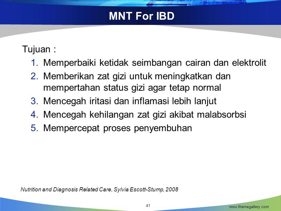 MNT For IBD Tujuan : Memperbaiki ketidak seimbangan cairan dan elektrolit.