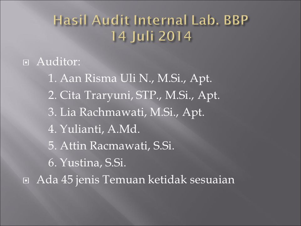 Hasil Audit Internal Lab. BBP 14 Juli 2014