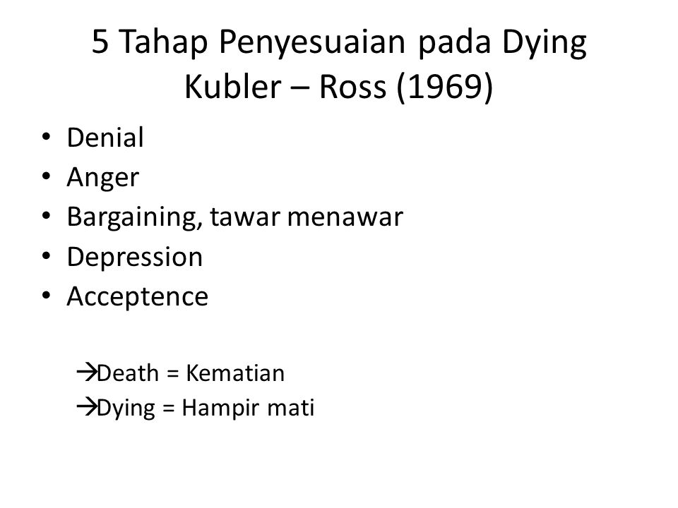 5 Tahap Penyesuaian pada Dying Kubler – Ross (1969)