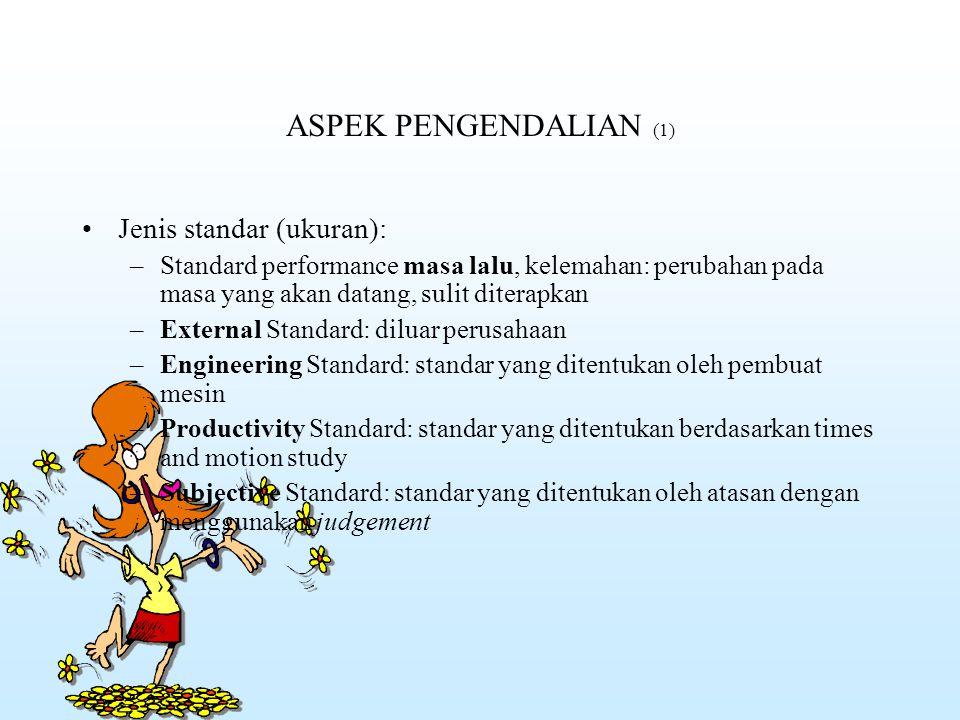 ASPEK PENGENDALIAN (1) Jenis standar (ukuran):