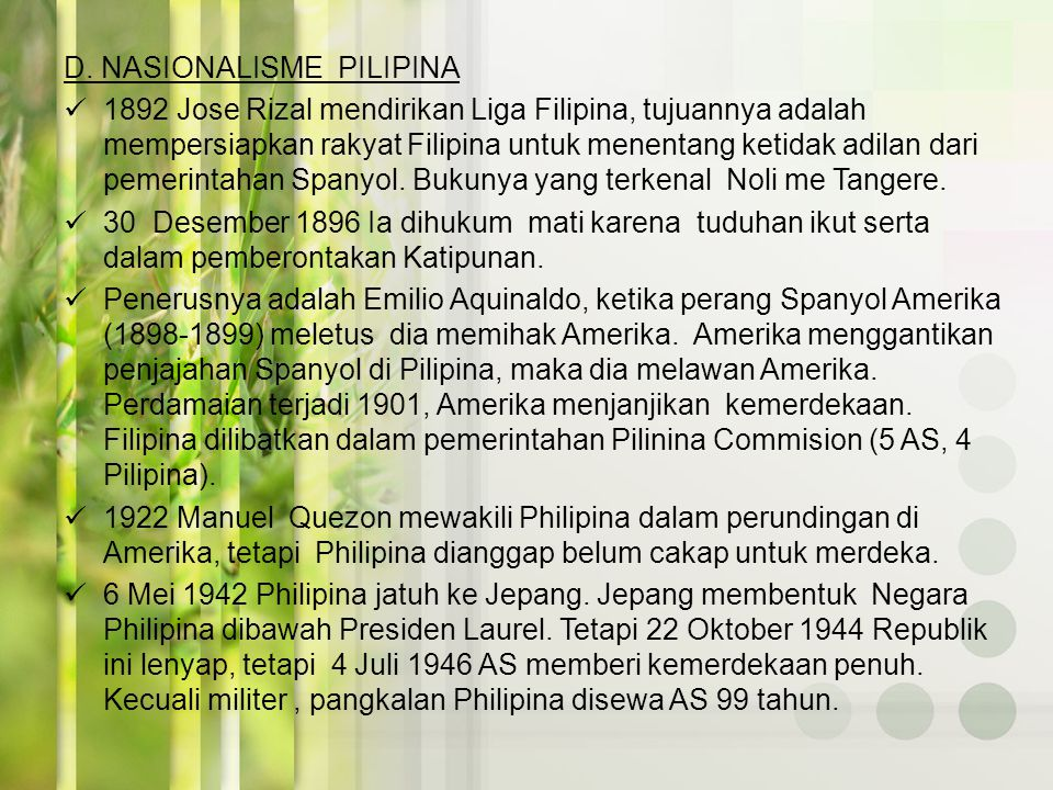 D. NASIONALISME PILIPINA