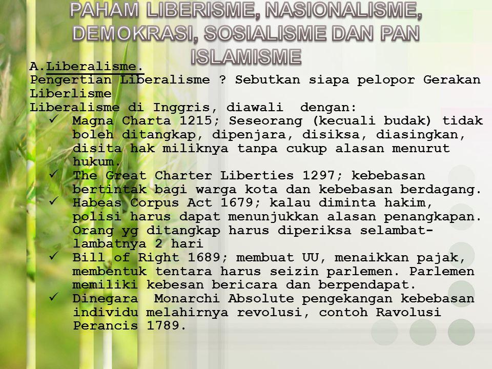 PAHAM LIBERISME, NASIONALISME, DEMOKRASI, SOSIALISME DAN PAN ISLAMISME