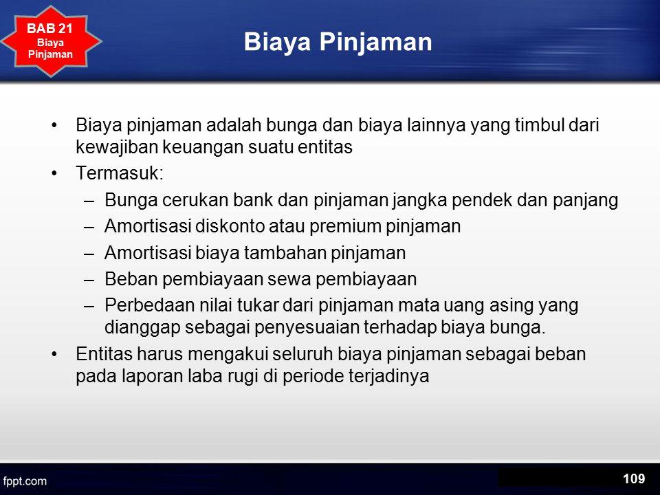 BAB 21 Biaya Pinjaman. Biaya Pinjaman. Biaya pinjaman adalah bunga dan biaya lainnya yang timbul dari kewajiban keuangan suatu entitas.