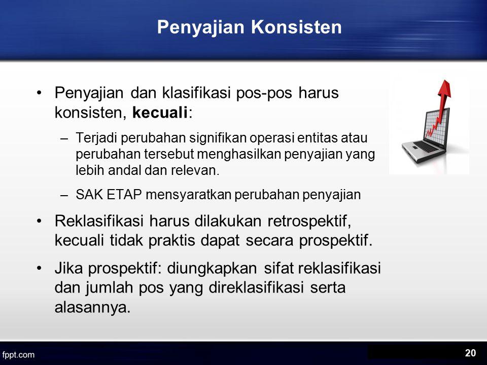 Penyajian Konsisten Penyajian dan klasifikasi pos-pos harus konsisten, kecuali: