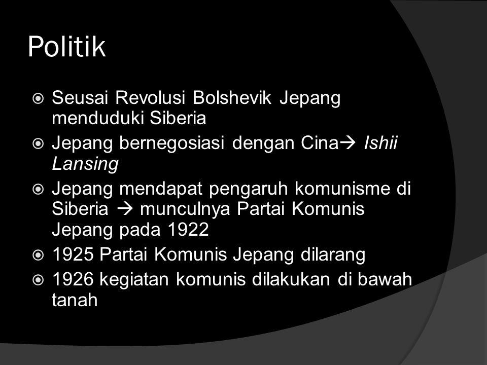 Politik Seusai Revolusi Bolshevik Jepang menduduki Siberia
