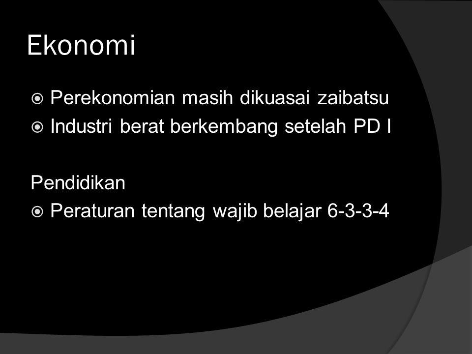 Ekonomi Perekonomian masih dikuasai zaibatsu