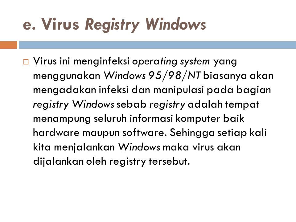 e. Virus Registry Windows