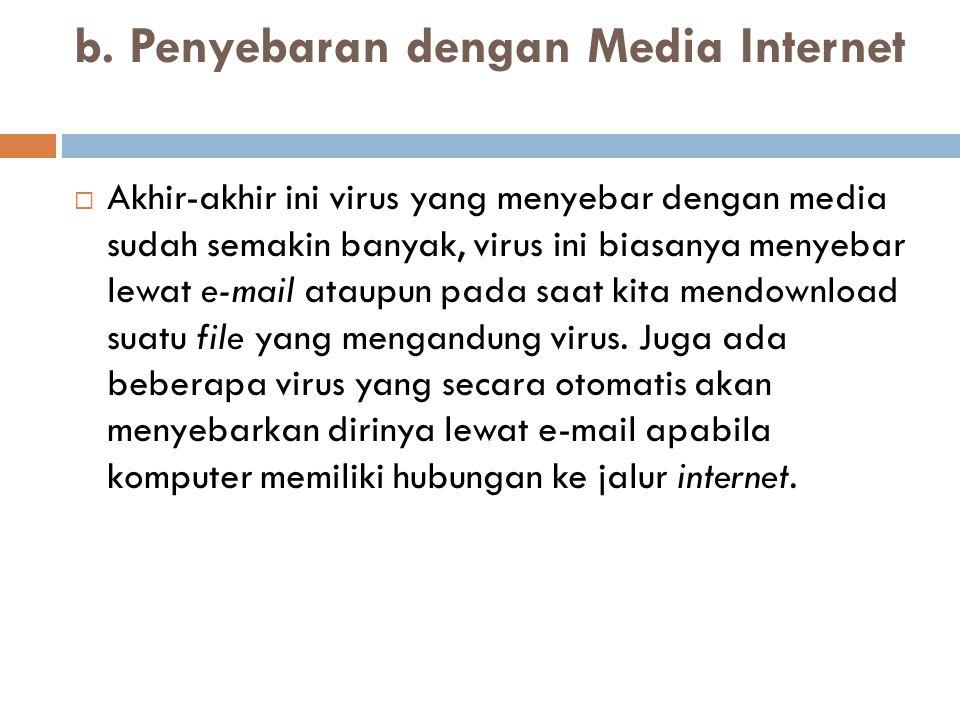 b. Penyebaran dengan Media Internet