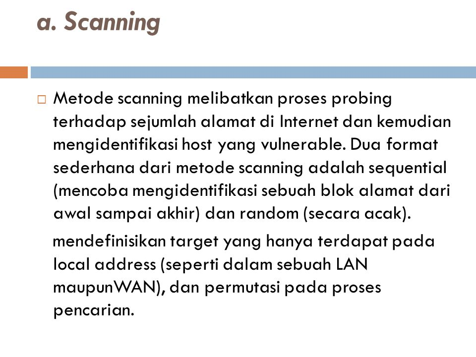 a. Scanning