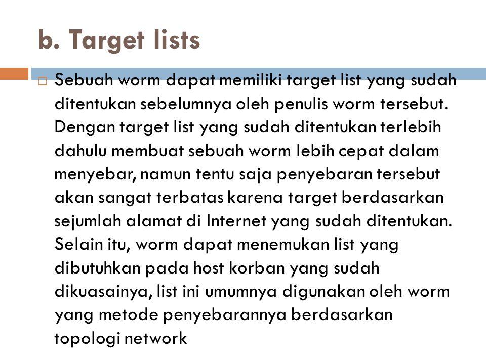 b. Target lists
