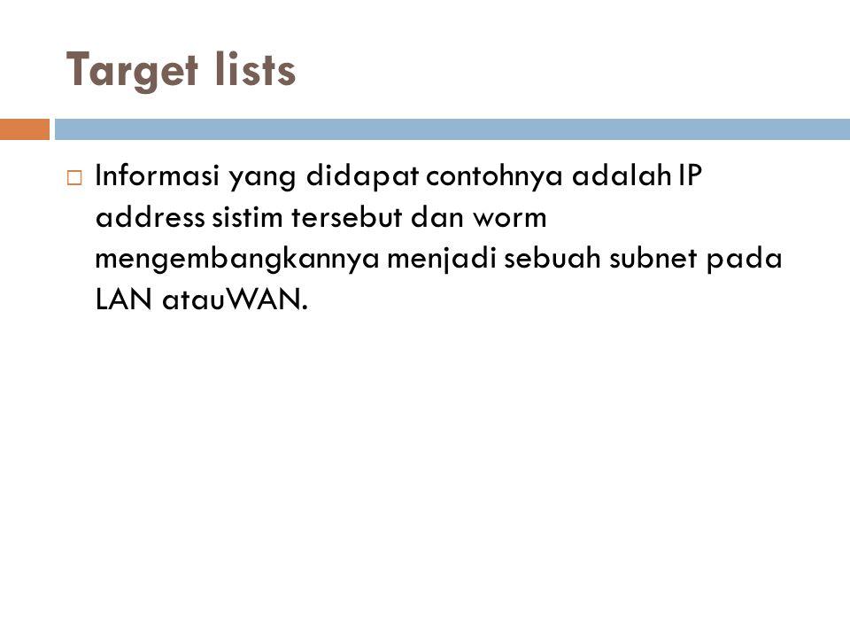 Target lists Informasi yang didapat contohnya adalah IP address sistim tersebut dan worm mengembangkannya menjadi sebuah subnet pada LAN atauWAN.