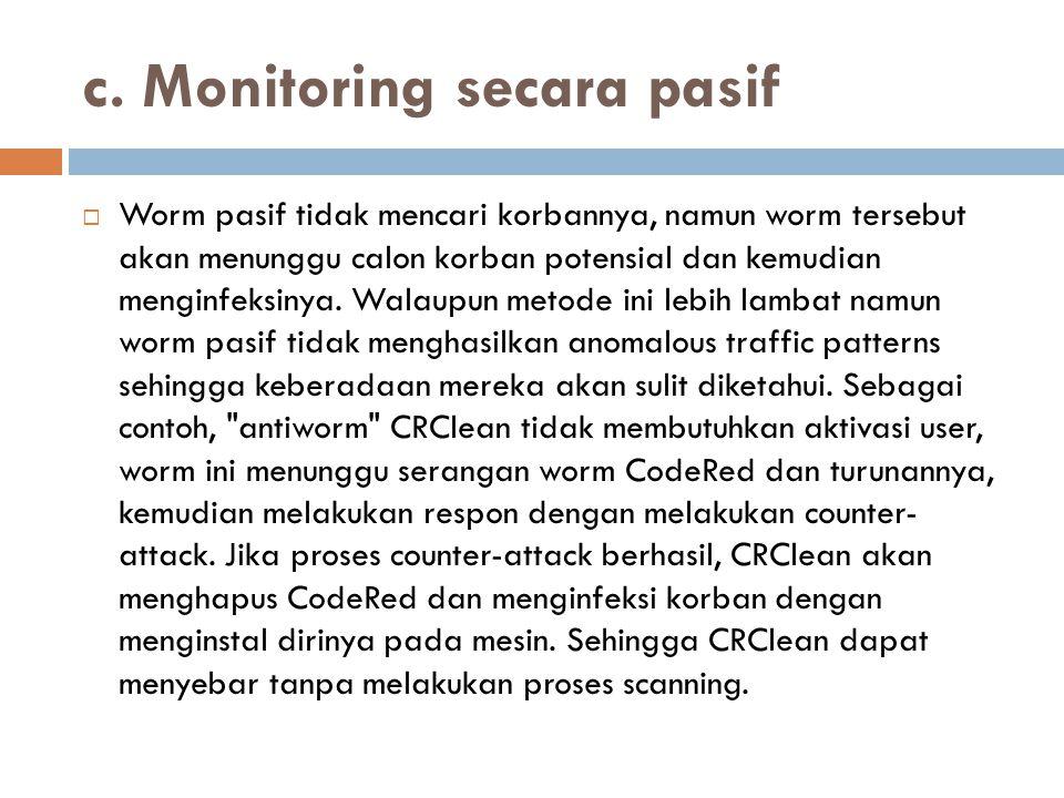 c. Monitoring secara pasif