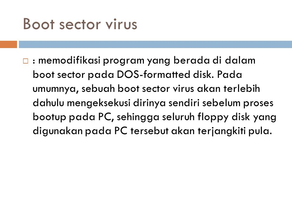 Boot sector virus