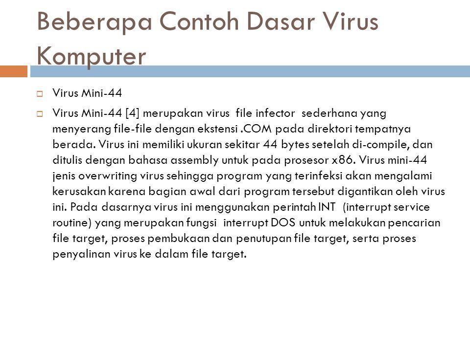 Beberapa Contoh Dasar Virus Komputer
