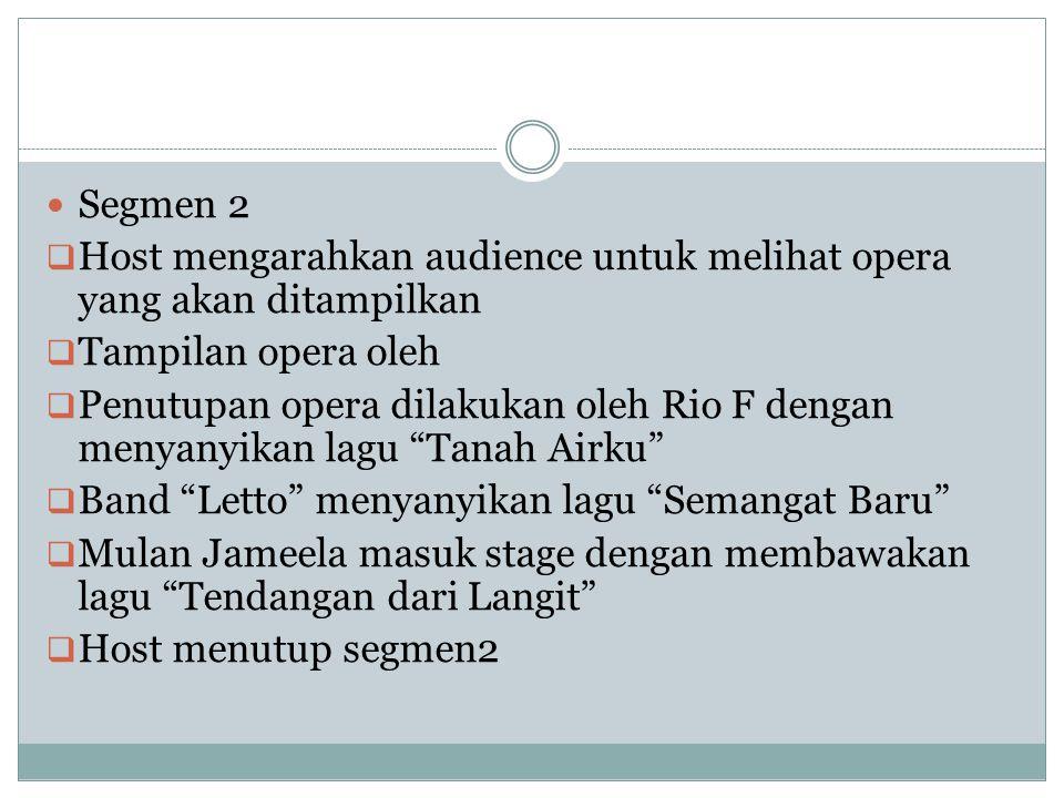Segmen 2 Host mengarahkan audience untuk melihat opera yang akan ditampilkan. Tampilan opera oleh.