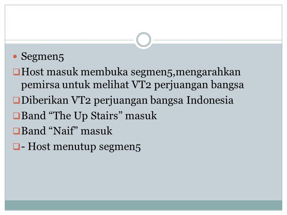 Segmen5 Host masuk membuka segmen5,mengarahkan pemirsa untuk melihat VT2 perjuangan bangsa. Diberikan VT2 perjuangan bangsa Indonesia.