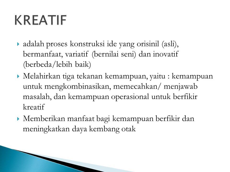 KREATIF adalah proses konstruksi ide yang orisinil (asli), bermanfaat, variatif (bernilai seni) dan inovatif (berbeda/lebih baik)