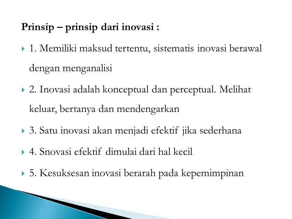Prinsip – prinsip dari inovasi :