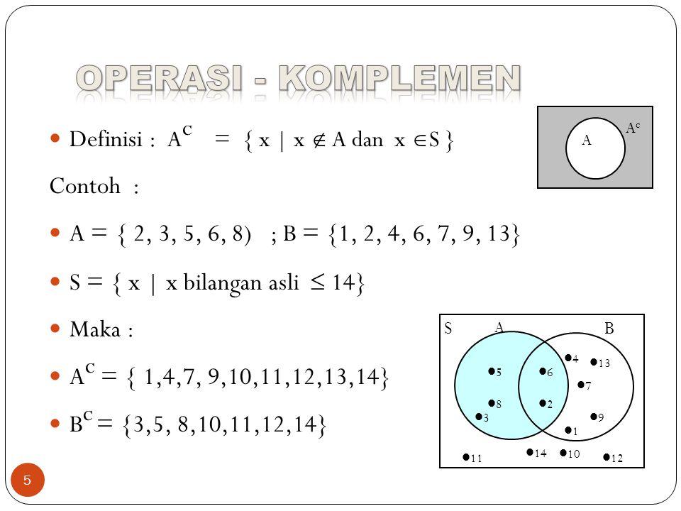 OPERASI - KOMPLEMEN Definisi : Ac = { x | x  A dan x S } Contoh :