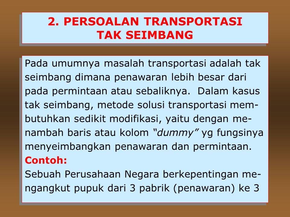 2. PERSOALAN TRANSPORTASI TAK SEIMBANG