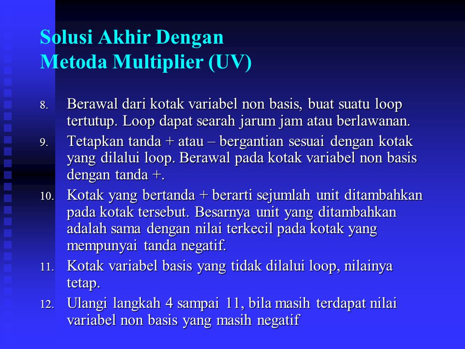 Solusi Akhir Dengan Metoda Multiplier (UV)