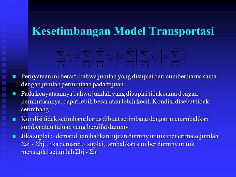 Kesetimbangan Model Transportasi