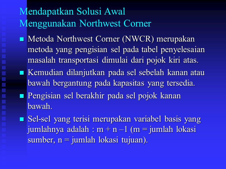 Mendapatkan Solusi Awal Menggunakan Northwest Corner