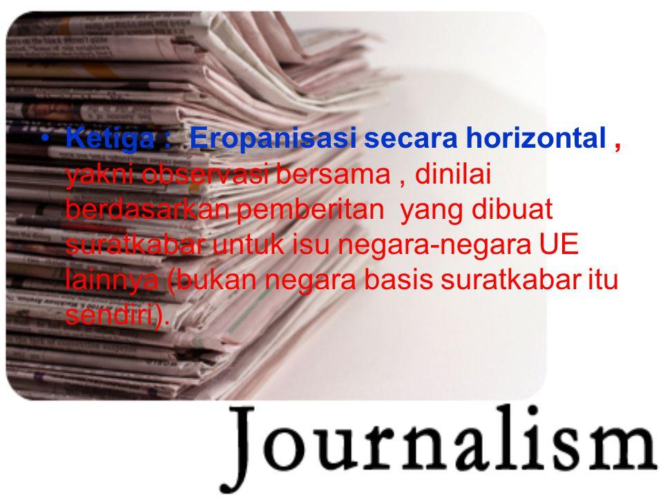 Ketiga : Eropanisasi secara horizontal , yakni observasi bersama , dinilai berdasarkan pemberitan yang dibuat suratkabar untuk isu negara-negara UE lainnya (bukan negara basis suratkabar itu sendiri).