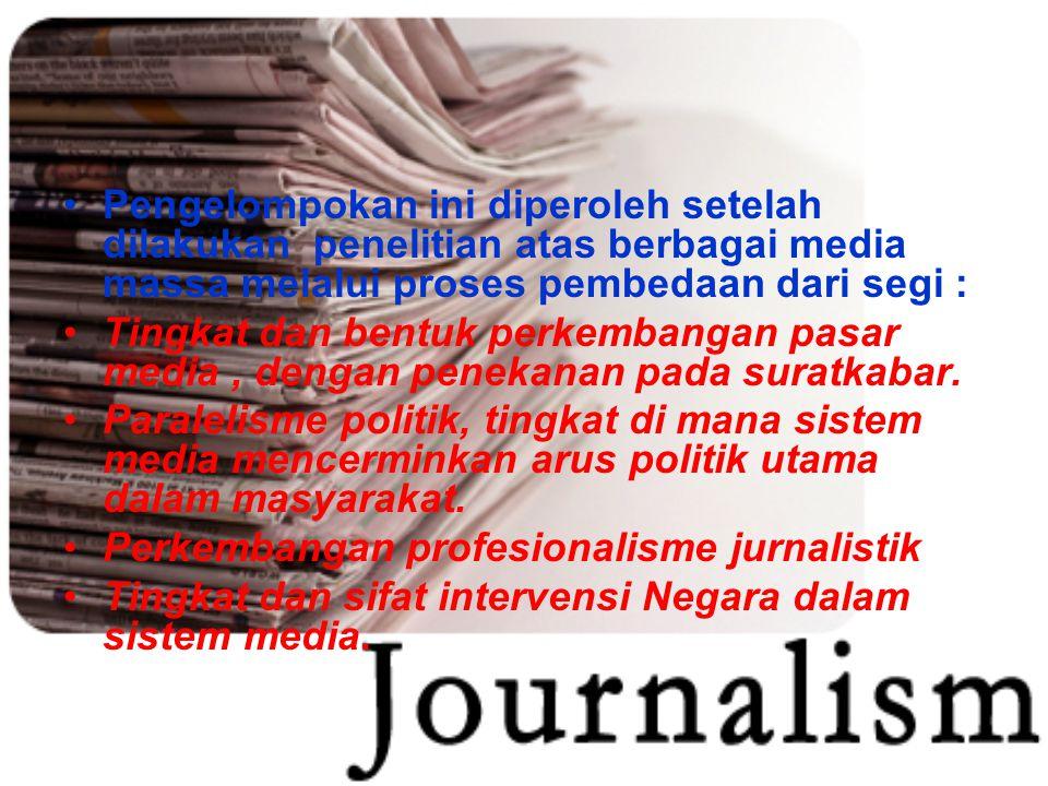 Pengelompokan ini diperoleh setelah dilakukan penelitian atas berbagai media massa melalui proses pembedaan dari segi :