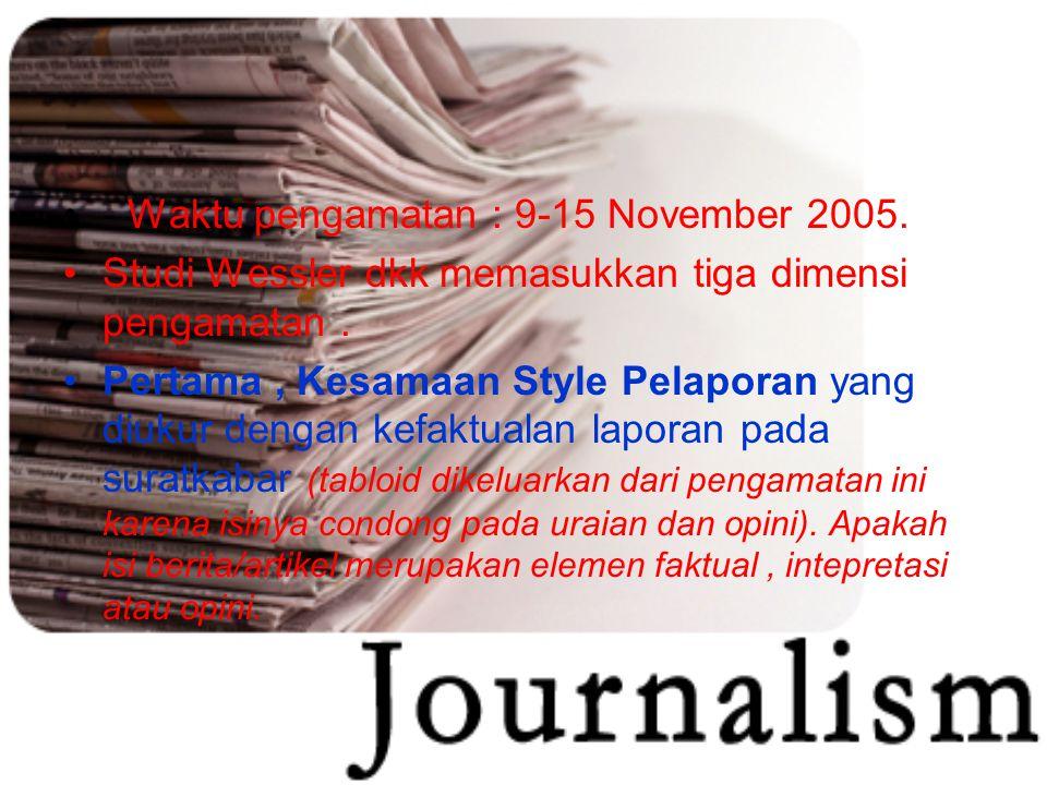 - Waktu pengamatan : 9-15 November 2005.