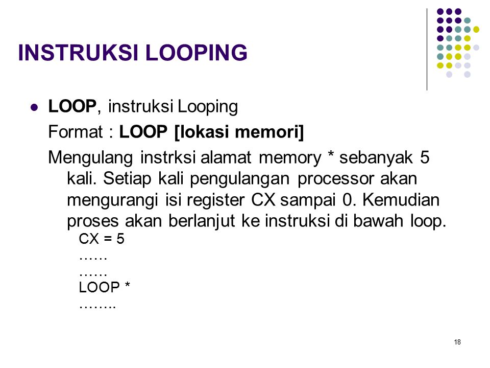INSTRUKSI LOOPING LOOP, instruksi Looping