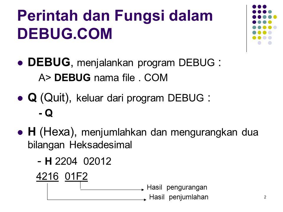 Perintah dan Fungsi dalam DEBUG.COM