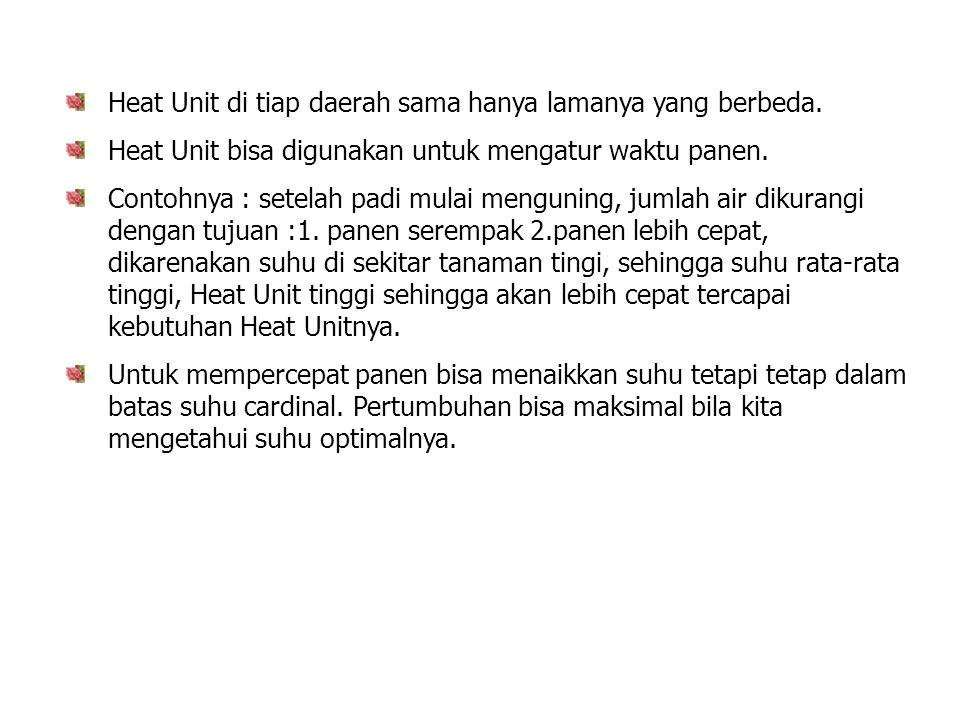 Heat Unit di tiap daerah sama hanya lamanya yang berbeda.