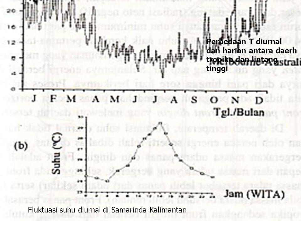Perbedaan T diurnal dan harian antara daerh tropika dan lintang tinggi