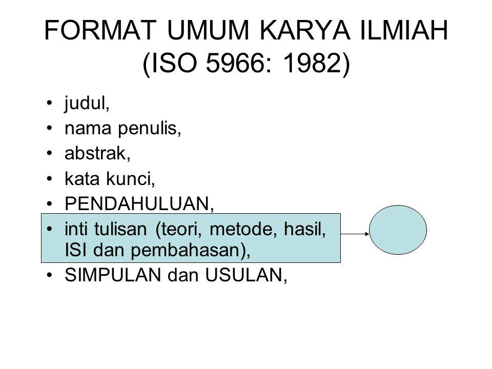Format uMUM karya ilmiah (ISO 5966: 1982)