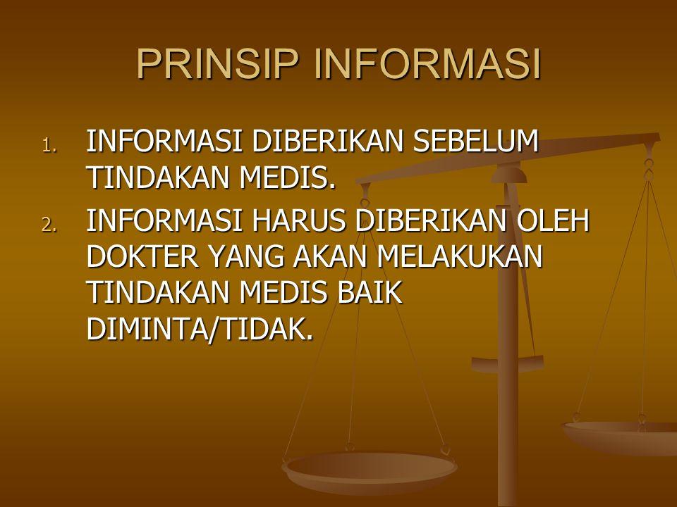 PRINSIP INFORMASI INFORMASI DIBERIKAN SEBELUM TINDAKAN MEDIS.