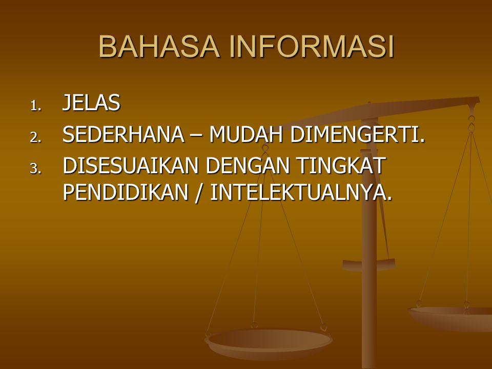 BAHASA INFORMASI JELAS SEDERHANA – MUDAH DIMENGERTI.