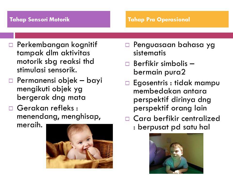 Permanensi objek – bayi mengikuti objek yg bergerak dng mata